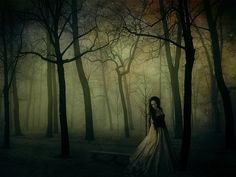 weeping woman in forest