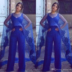 Designer 2018 Royal Blue Lace Jumpsuits Evening Dresses With Wrap Prom Gowns Floor Length Formal Dress Purple Evening Dresses Sexy Cheap Dresses From Manweisi, $138.4| Dhgate.Com