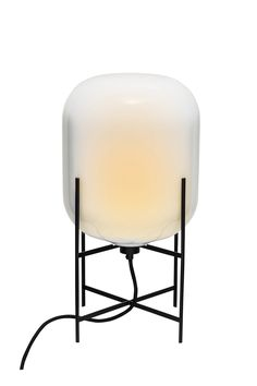 Table lamp - Oda Small by Sebastian Herkner for pulpo - Materials & colors : white glass & black powder coated steel