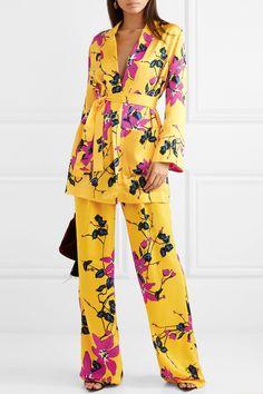 Etro Floral-print Crepe Wide-leg Pants In Marigold Hijab Fashion, Fashion Dresses, Mode Kimono, Jacket Dress, Nightwear, Wide Leg Pants, Lounge Wear, Luxury Fashion, Floral Prints