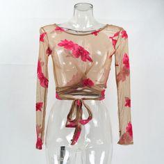 GB47 Womens Moda Manga Comprida Auto Laço Floral Sheer Nude Blusa Cropped Bandagem Praia Camisa Túnica em Blusas & Camisas de Das mulheres Roupas & Acessórios no AliExpress.com   Alibaba Group