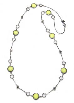 Neon and Crystal Hematite Station Necklace   Capwell