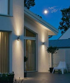 Home Exterior Decorating with Outdoor lighting Exterior House Lights, Exterior Wall Light, Facade Lighting, Patio Lighting, Lighting Ideas, Modern Exterior Lighting, Modern Outdoor Wall Lighting, Club Lighting, Modern Wall Lights