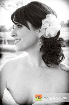 black & white bridal portrait, White flower in bride's hair, Roper Photo, Chicagoland and International wedding photographers