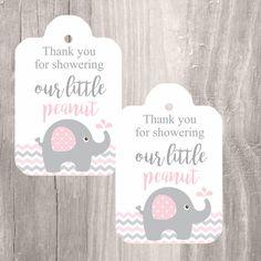 Printable Elephant Baby Shower Favor Tags, Pink and Grey, Elephant Baby Shower Thank You Tags, Instant Download, Printable Tags