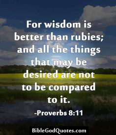 For wisdom is better than rubies; and all the things that may be desired are not to be compared to it. -Proverbs 8:11 http://biblegodquotes.com/for-wisdom-is-better-than-rubies-2/