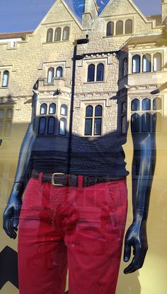 red pants mannequin & reflection by chris jannides, via Flickr
