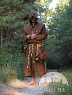 Medieval Fantasy Monk Robe with overcoat, hood and Original monks pouches bags for sale. Available in: black flax linen, natural flax linen, brown flax linen, white flax linen :: by medieval store ArmStreet