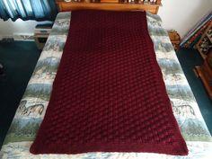 Claret Hand Knitted Basketweave Afghan Blanket by CraftsbyCummins