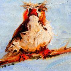 ARTOUTWEST Bird face Diane Whitehead Fine Art Oil Painting original, painting by artist Diane Whitehead