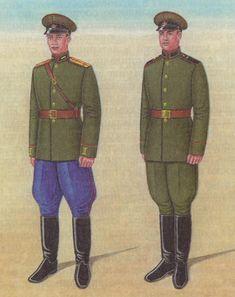 1946-1954 Soviet Army officers (left) and enlisted tankmen's (right) summer parade dress uniform.