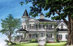 Farmhouse Southern Victorian Elevation of Plan 86291