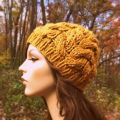 Hand Knit Hat Womens Chunky Cable Hat  Harvest by CroquisKnits ♡