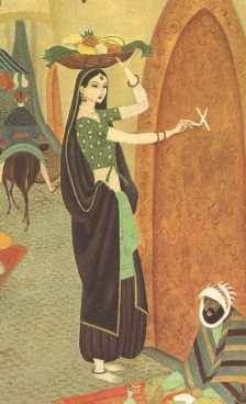 """Morgiana marks the doors of the other houses on her street to confuse the robbers. From Gustav """"Tenggren's Golden Tales from the Arabian Nights"""" (1957)."""