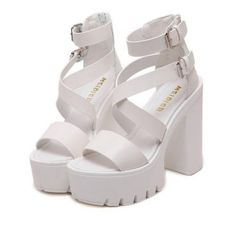 Zipper Double Belt Buckle Cross Strap Sandals White (190 SAR) ❤ liked on Polyvore featuring shoes and sandals