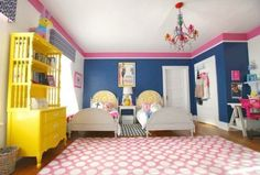 PHOEBE HOLIDAY BEDROOM! Bold blue and pink girls bedroom