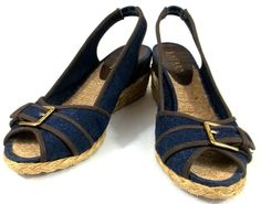 Ralph Lauren Shoes Womens 7.5 M Blue Fabric Slingback Wedge Espadrilles Heels #RalphLauren #Espadrilles