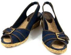 Ralph Lauren Shoes Womens 7.5 M Blue Fabric Slingback Wedge Espadrilles Heels #RalphLauren #Espadrilles
