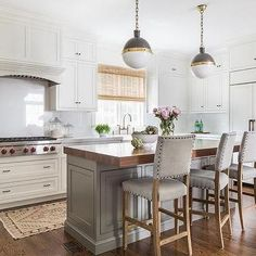 Thick Butcher Block Island Countertop with Gray Nailhead Counter Stools, Transitional, Kitchen