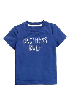 H&M Printed T-Shirt in Cornflower Blue