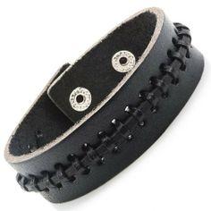 R&B Schmuck Herren Armband Echtleder - Lederarmband Bohemian Style, Vintage, mit Druckknöpfen (Schwarz): 14,90€