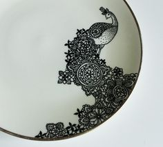 Hand illustrated Pretty Peacock plate from yvonneellen on Etsy