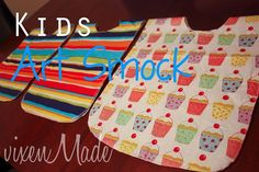 Kids Art Smock Tutorial  -- very simple. Only sewing is for the velcro closures. Optional sewing (serging/zigzag) for the edges to prolong life.