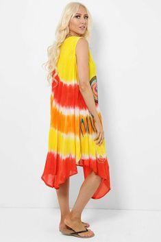 Tie Dye Sleeveless Midi Dress Asymmetric Boho Hippie Festival Beach Red Yellow #Unbranded #KaftanBeachDress #Casual Hippie Festival, Boho Hippie, Boho Dress, Kaftan, Tie Dye Skirt, Beachwear, Summer Dresses, Yellow, Casual