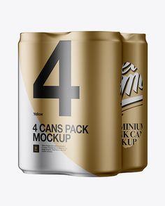 4 Cans in Matte Metallic Shrink Wrap Mockup - Half Side View