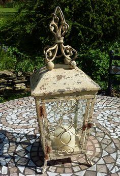 distressed cream standing lantern