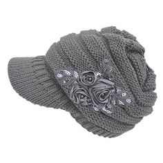 Women s Cable Knit Newsboy Visor Cap Hat with Sequined Fl... https   4458fc2d2599