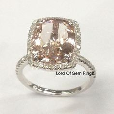 10x12mm Cushion Morganite Diamond Engagement Ring in 14K White Gold,Claw Prongs #LOGR #SolitairewithAccents