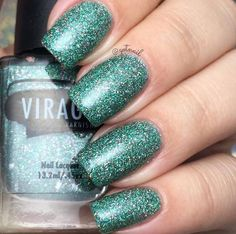 Vixen. Holographic green and pink micro glitter polish.
