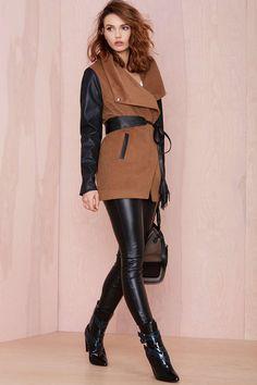 Leather Leggings + Statement Coat