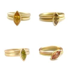 Top left: gold with a marquise yellow sapphire Top right: gold with a marquise yellow/green sapphire Bottom left: gold with a marquise yellow/green diamond Bottom right: yellow and rose gold with a marquise yellow/orange sapphire Orange Sapphire, Green Diamond, Contemporary Engagement Rings, Engagement Ring Settings, Contemporary Jewellery, Eternity Ring, 18k Gold, Gold Rings, Rose Gold