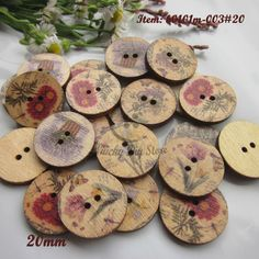 New 50pcs Pastoral Wood Buttons 30mm Sewing Craft Mix Lots