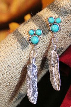 Cowgirl Triple Turquoise & Silver Feather Charm Western Earrings