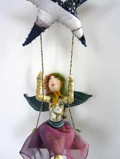 Swinging on a Star  OOAK Art Doll Fairy quilted by MountainDolls, $60.00