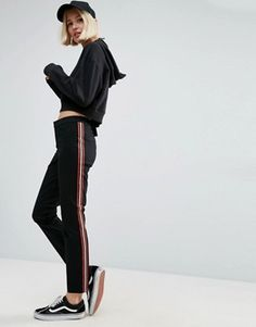 Buy ASOS Cigarette Trousers with Side Stripe at ASOS. With free delivery and return options (Ts&Cs apply), online shopping has never been so easy. Get the latest trends with ASOS now. Pantalon Cigarette, Cigarette Trousers, Tall Pants, Slim Pants, Fall Outfits, Cute Outfits, Fashion Outfits, Work Outfits, Fashion Clothes