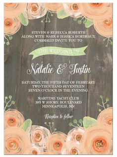 Rustic peach and green wedding invitations from @lemonleafprints