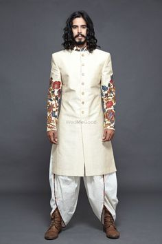 Looking for Off White Sherwani with Embroidered Sleeves and Dhoti? Browse of latest bridal photos, lehenga & jewelry designs, decor ideas, etc. on WedMeGood Gallery. Indian Men Fashion, Men's Fashion, Royal Fashion, Designer Dress For Men, Wedding Sherwani, Sari, Saree Dress, Indian Wedding Planning, Modest Wedding Dresses