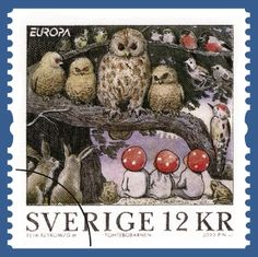 Tomtebobarnen, illustrated by Elsa Beskow, is a loved childrens books to read and to look at. Elsa Beskow, Postage Stamp Design, Postage Stamps, Charley Harper, Love Stamps, Owl Art, Penny Black, Beatrix Potter, Stamp Collecting