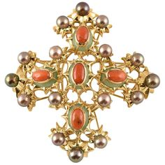 Exquisite Tony Duquette Chrysoprase, Coral and Black Pearl Gold Brooch Pin Diamond Brooch, Emerald Diamond, Sea Pearls, Black Pearls, Gold Brooches, Blue Zircon, Coral Turquoise, Pearl Pendant, Brooch Pin
