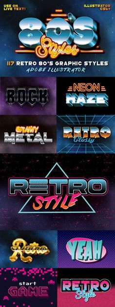 117 Retro 80s Text Styles for Photoshop by designdell