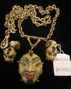 Rare-Vintage-18-Signed-Coro-Coolie-Asian-Man-Necklace-Duette-Pin-Set-A15
