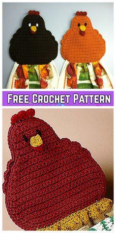 16 + Free Patterns to Make a Crochet Towel Topper - Guide Patterns Crochet Towel Tops, Crochet Towel Holders, Crochet Dish Towels, Crochet Kitchen Towels, Crochet Hot Pads, Crochet Potholders, Crochet Gifts, Diy Crochet, Crochet Chicken