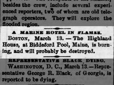 """Harrisburg Telegraph (PA) 13 Mar 1882  Hotel, """"The Highland House"""" burns, Biddeford Pool, Maine"""