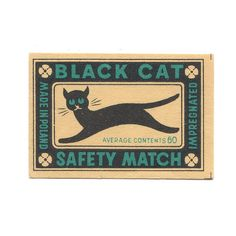 Cats in Art, Illustration, Photography, Design and Decorative Arts: Black Cat Safety Match packaging Crazy Cat Lady, Crazy Cats, I Love Cats, Retro Poster, Vintage Posters, Black Cat Art, Black Cats, Etiquette Vintage, Gatos Cats