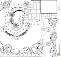 Garden Plan Black And White - Download From Over 48 Million High Quality Stock Photos, Images, Vectors. Sign up for FREE today. Image: 18995738