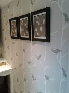 B&Q Arlo Charcoal trees with birds wallpaper